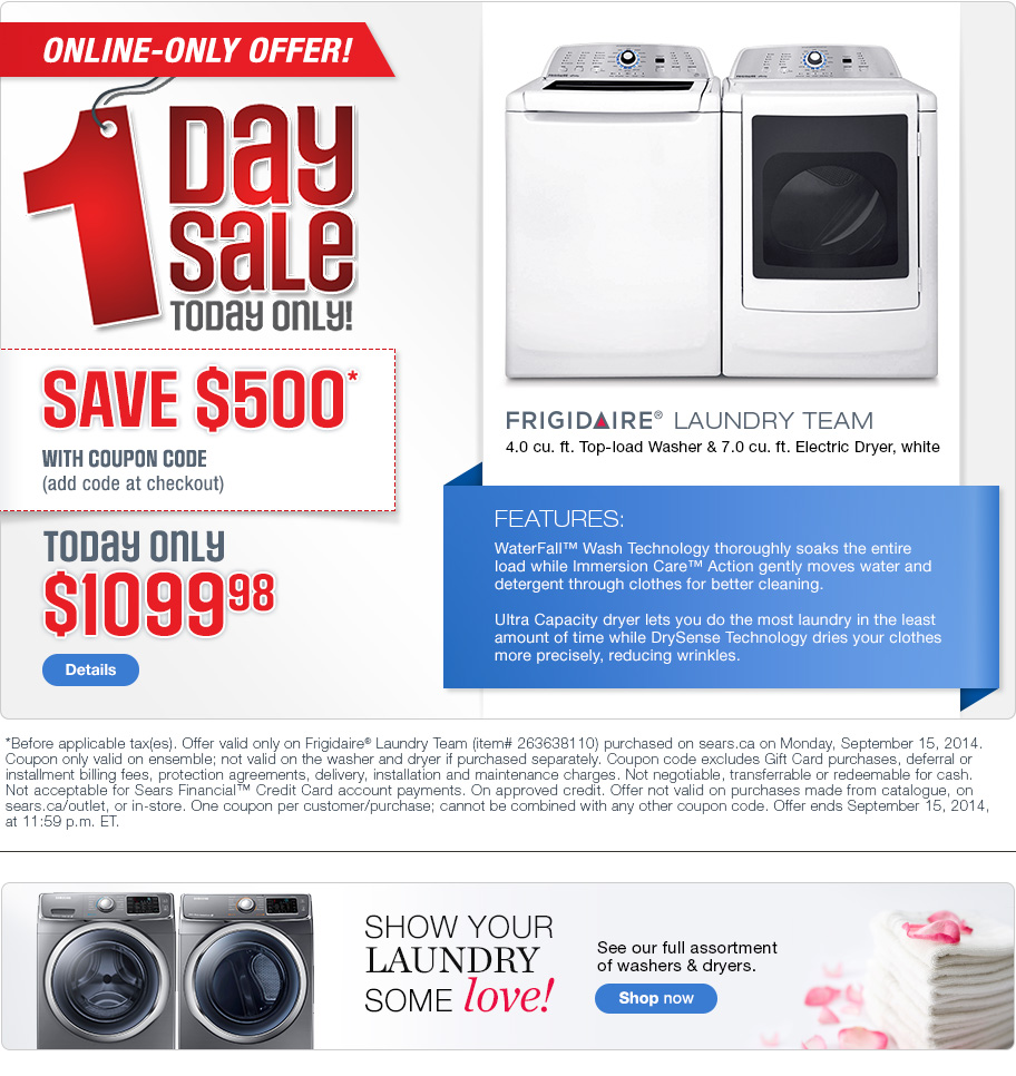 It's easy to use a sears coupon code for extra savings. Just copy the coupon on our sears coupon page and apply it during check out. Get more discounts w/ new Sears Canada coupons. 63 Sears coupons, including 15 Sears coupon codes & 48 deals for December