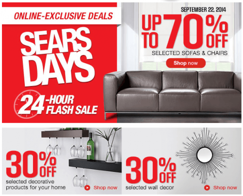 Sears Canada One Day Flash Sale: Save Up To 70% Off