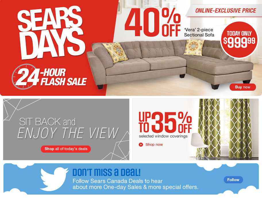 Sears Days Canada 24 Hour Flash Sale Save 40 Off Verta 2 Piece  sc 1 st  Sofa Ideas : sectional sofas sears canada - Sectionals, Sofas & Couches