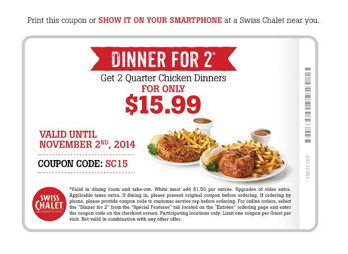 picture relating to Sport Chalet Printable Coupon identified as Swiss Chalet Canada Printable Coupon: Just take 2 Quarter Bird