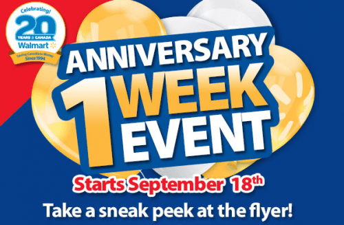 Walmart canada anniversary sale flyer september to