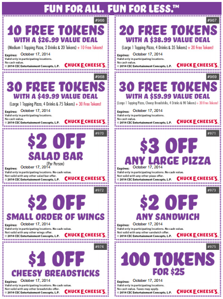 chuck e cheese s new printable coupons save on food tokens and more canadian freebies