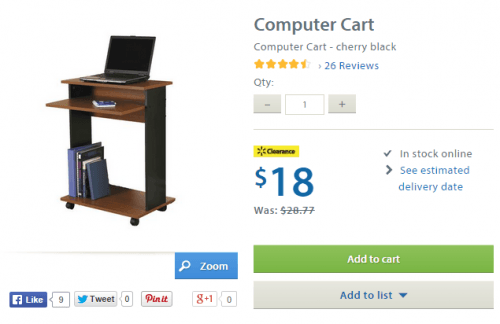 Walmart canada clearance deal get the computer cart for only 18 free shipping canadian - Computer cart walmart ...