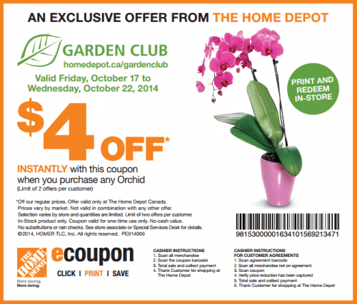Home Depot Canada Garden Club Coupon Save Off When You Purchase Any Orchid Canadian