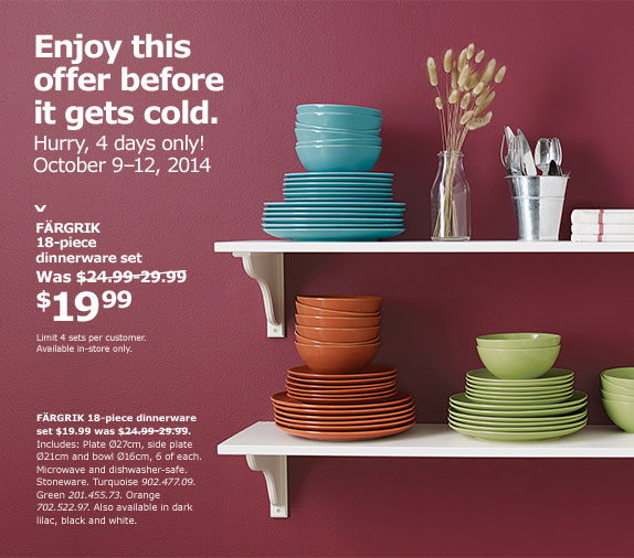 IKEA Canada Offers Get the FARGRIK 18 Piece Dinnerware Set For Only $19.99  sc 1 st  Smart Canucks & IKEA Canada Offers: Get the FARGRIK 18 Piece Dinnerware Set For Only ...