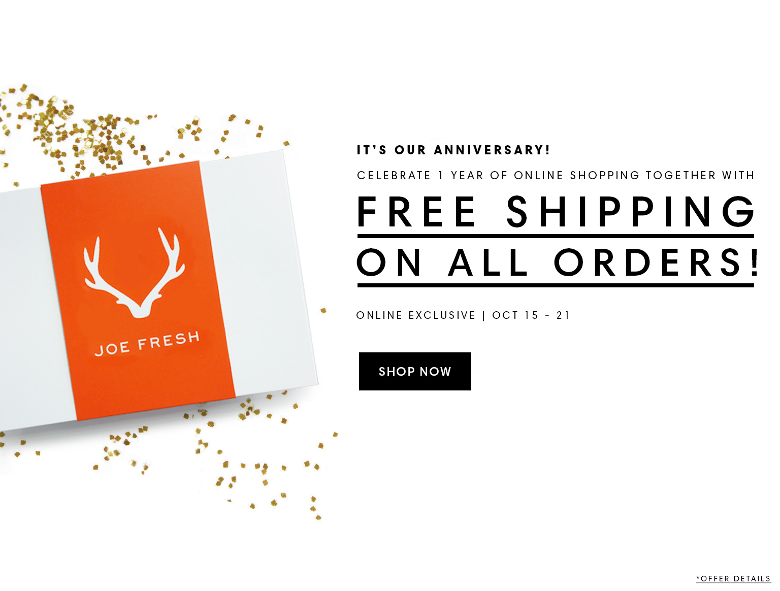 Joe Fresh Canada Offer Get Free Standard Shipping No Minimum
