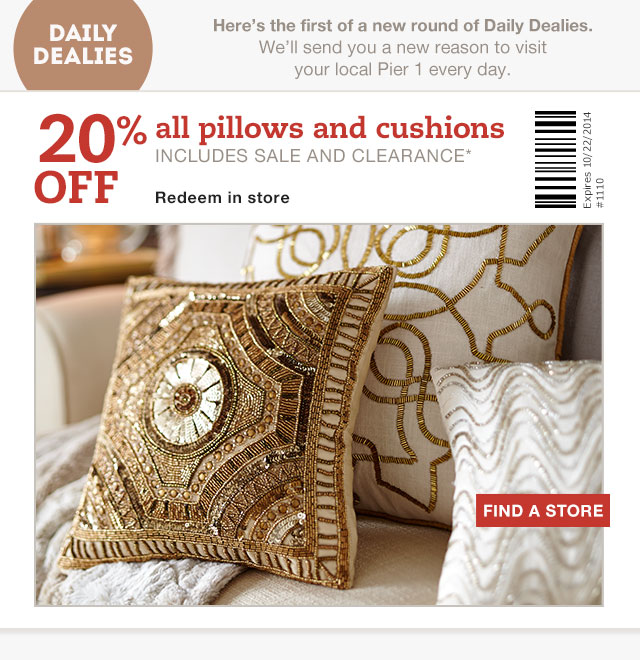 Pier 40 Imports Canada Coupon Save 40% Off Pillows Or Cushions Fascinating Pier One Imports Decorative Pillows