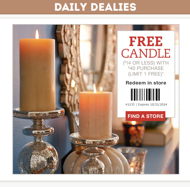 Pier 1 Imports Canada: Pier 1 Imports Canada Coupon: Get A FREE Candle With Your