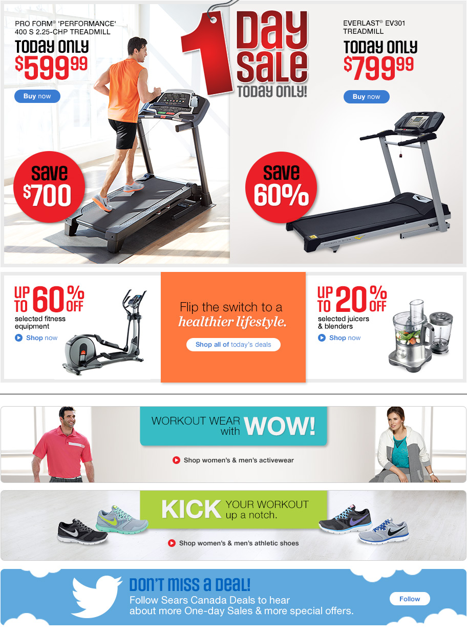 Sears has all the fitness equipment and sporting goods to stay active. Find the latest exercise machines, camping gear, sports equipment and more.