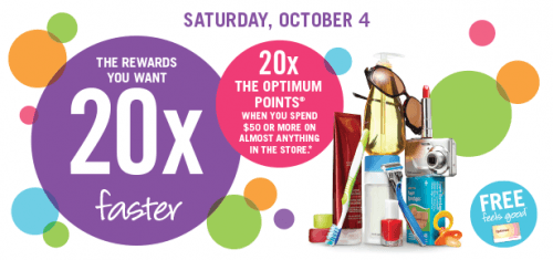 shoppers 500x235 Shoppers Drug Mart Canada: Get 20X The Optimum Points on Saturday October 4th, Printable Coupon