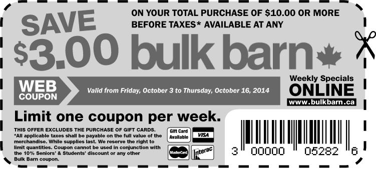 webcoupon flyer10en 316d Bulk Barn Canada Printable Coupons: Save $3.00 On Your Purchase Of $10 Or More!