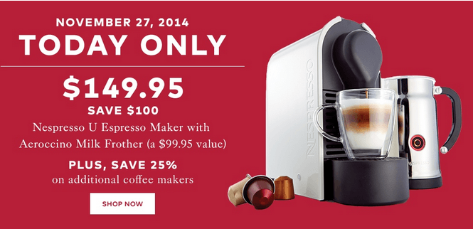 hudson s bay canada black friday early sale save 100 on nespresso u now for with free. Black Bedroom Furniture Sets. Home Design Ideas