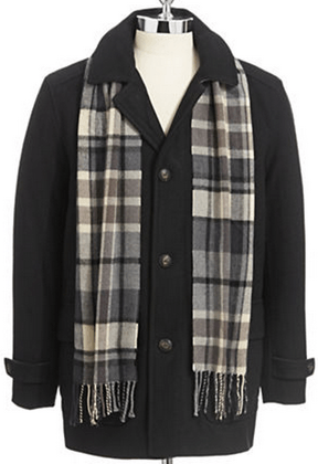 LONDON FOG Wool Blend Coat with Scarf at The Bay