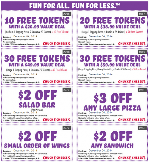 Chuck E. Cheese is one of the most popular family and kid destinations and is known for its selection of arcade games, pizza and ticket prizes. Parents can get discounts on birthday specials, pizza, salad bar, appetizers, drinks, and even free tokens with the latest printable coupons.