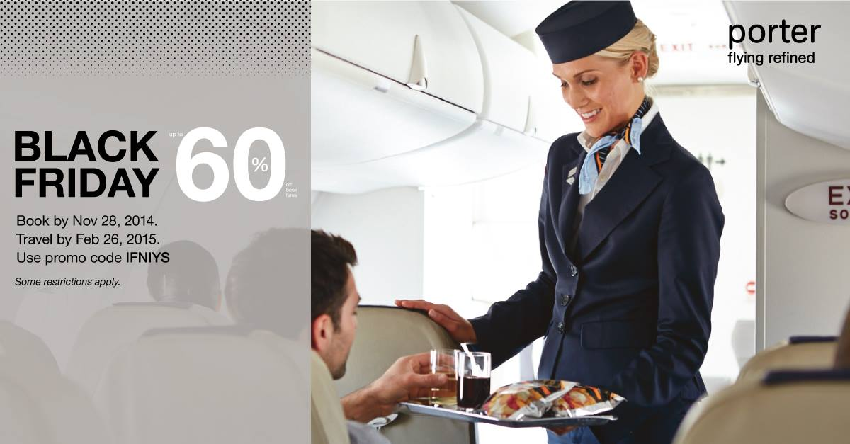 Porter airlines black friday 2014 sale up to 60 off base ticket fares canadian freebies - Porter airlines book flights ...