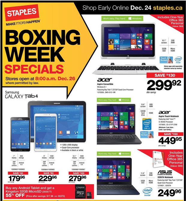 Staples Canada Boxing Day Week Flyer 2014 Canadian