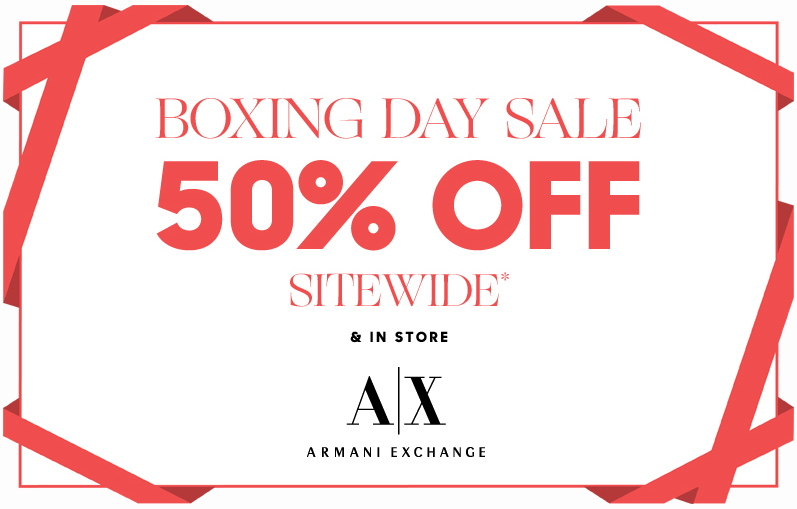 de9834f1ac3 Armani Exchange Canada Boxing Day   Boxing Week Sale  50% off ...