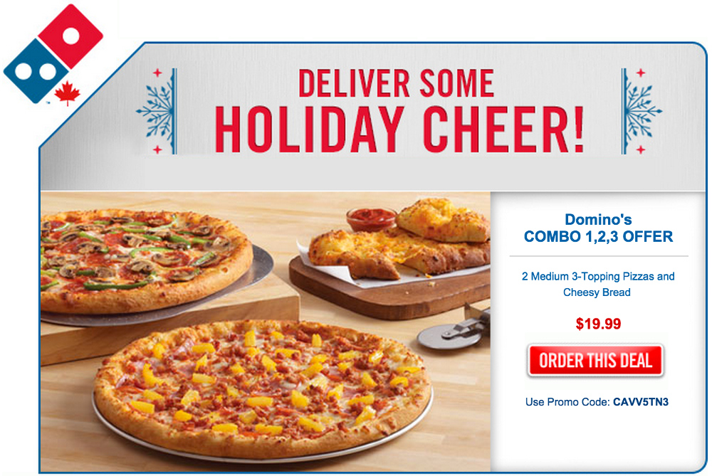 Domino's Coupons & Promo Codes. You can find a list of Domino's coupons on the national website. Choose from the list or begin building your order to have eligible coupons automatically applied. 4. You can collect 10 points when you spend $10 as a Piece of the Pie Rewards program member. Once you earn enough points, you'll become eligible.