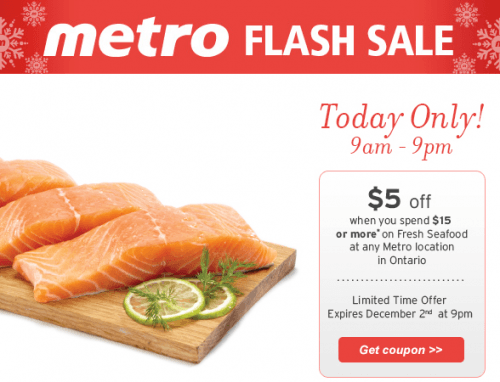 Metro Ontario Flash Sale: Save $5 When You Spend $15 on Seafood | Canadian Freebies, Coupons ...