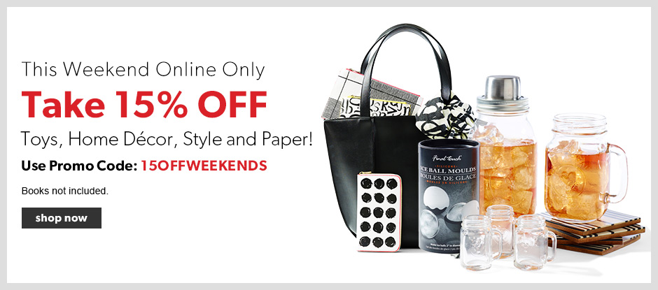 Chapters Indigo Canada Weekend Promo Code Deal: Save 15