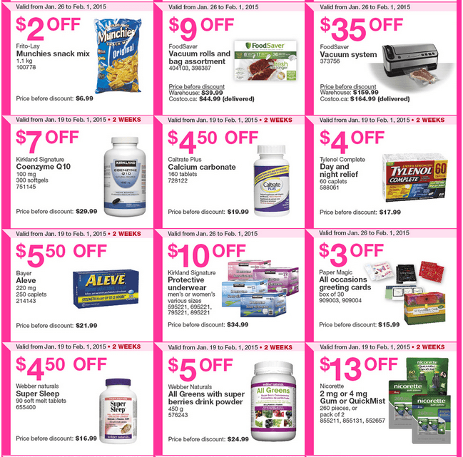 Costco Canada Weekly Instant Handouts Coupons Flyers For Eastern Ontario Atlantic Provinces January 26 To February 1 2015 Canadian Freebies Coupons Deals Bargains Flyers Contests Canada
