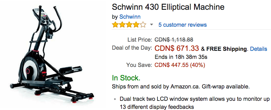 schwinn 430 elliptical machine sears