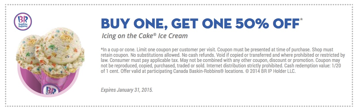 Baskin Robbins Canada Coupons Buy One Get One 50 off 3 off