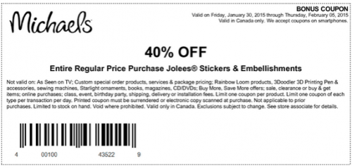 Michaels Arts And Crafts Store Canada Coupons Save 40 Off One