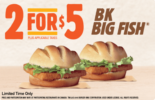 Burger king canada deals buy 2 bk big fish for just 5 for Burger king big fish