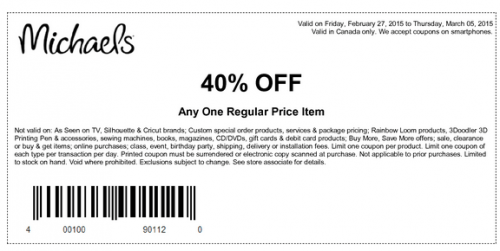 Michaels Canada Coupons: 40% OFF One Regular Priced Item, 55% Off ...