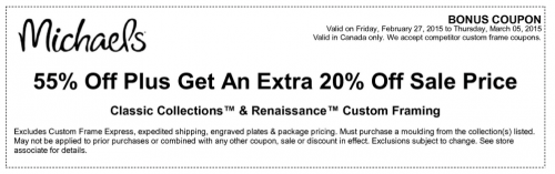 lastly until march 5 2015 michaels is offering 55 off your purchase of classic collections renaissance custom framing not only that but you can save - Michaels Framing Coupons