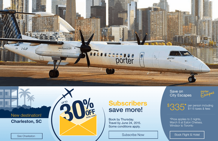 Porter airlines promo codes 30 off select base flight ticket fares canadian freebies - Porter airlines book flights ...