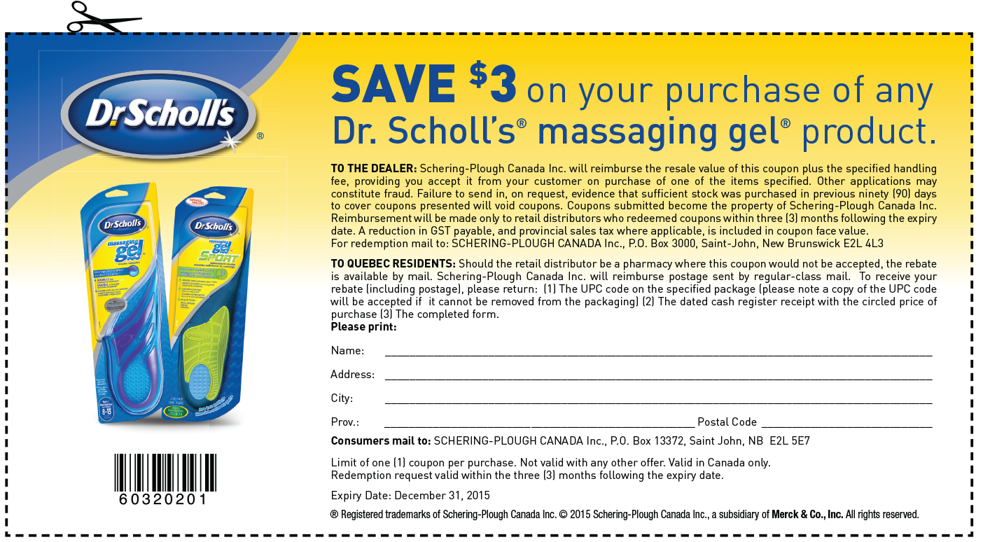 photograph regarding Dr Scholls Inserts Coupons Printable named Dr. Scholls Canada Printable Discount coupons: Help you save $3 Off upon Dr