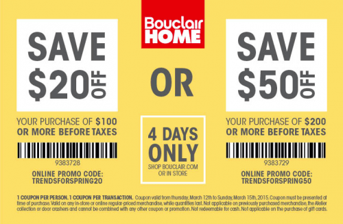 Bouclair Home Canada Coupon Deal: Save $20 When You Spend