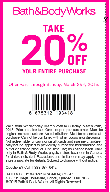 Bath and body works in store coupons 20 off