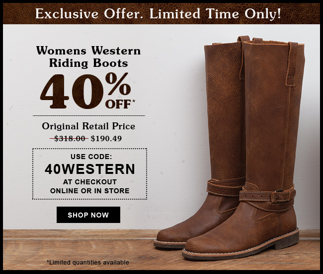 Roots Canada Offers: Save 40% Off on Women's Western Riding Boots ...