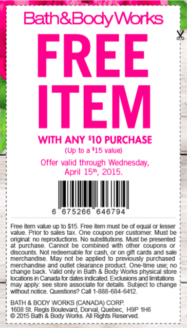 Bath and body canada coupons 2018