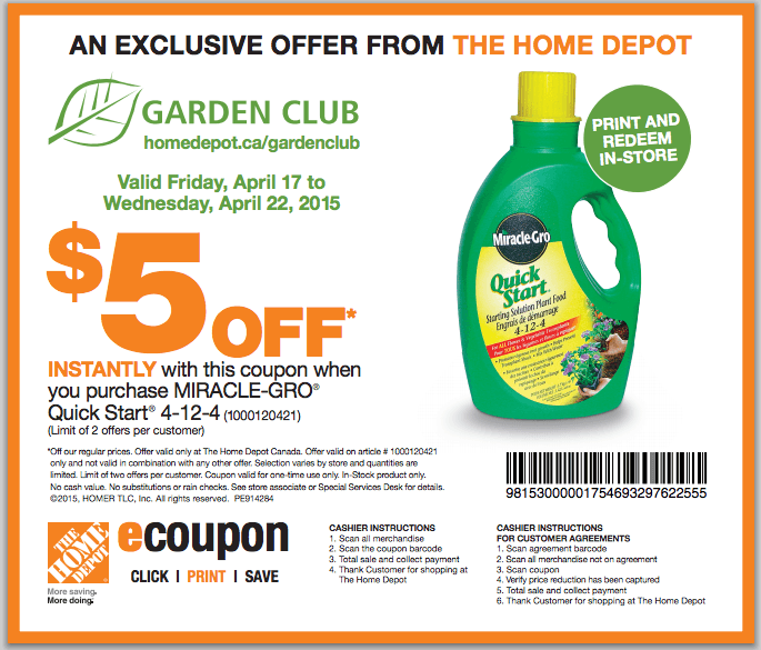 The home depot garden club printable coupons save 5 off - Home depot garden center coupons ...