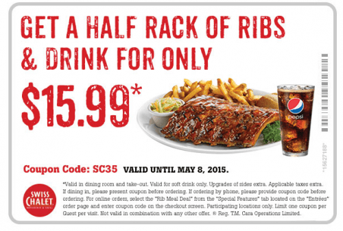 az39 500x337 Swiss Chalet Canada Coupons: Get 2 Quarter Chicken Dinners for $15.99 & Get Half Rack Ribs and Drink for $15.99