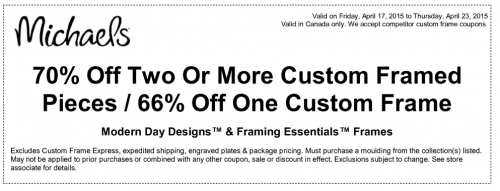 if youre looking to frame your latest masterpiece then you should take advantage of this coupon from michaels that gives you 70 off two or more custom