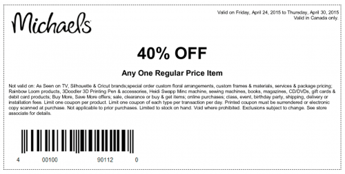 Michaels Arts and Crafts Store Canada Coupons: Save 40% Off One ...