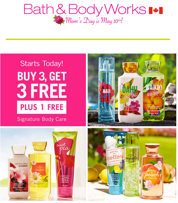 Bath Body Works Bath & Body Works Canada Mother's Day Offers: Signature Collection Body Care, Buy 3, Get 4 FREE and more