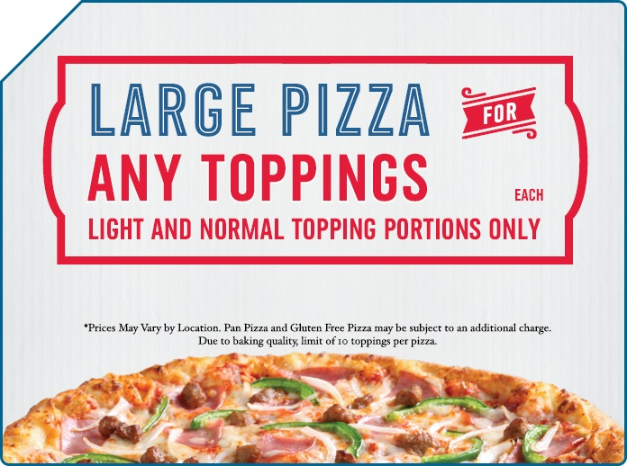 At checkout, head here to use any active Domino's coupon codes. Customize your order Domino's will go out of their way to fulfill your requests, from arranging the toppings in a specific way to writing personalized notes.