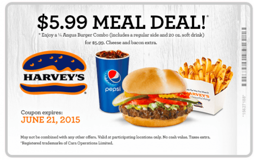 Screen Shot 2015 05 05 at 8.33.13 AM 500x315 Harvey's Canada New Coupon: Meal Deal is Only $5.99