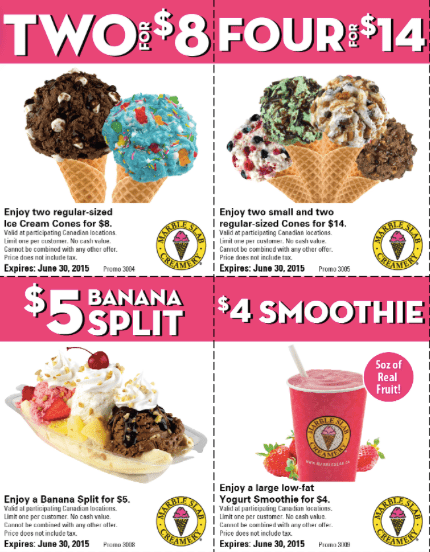 Saving Coupons From Marble Slab Creamery