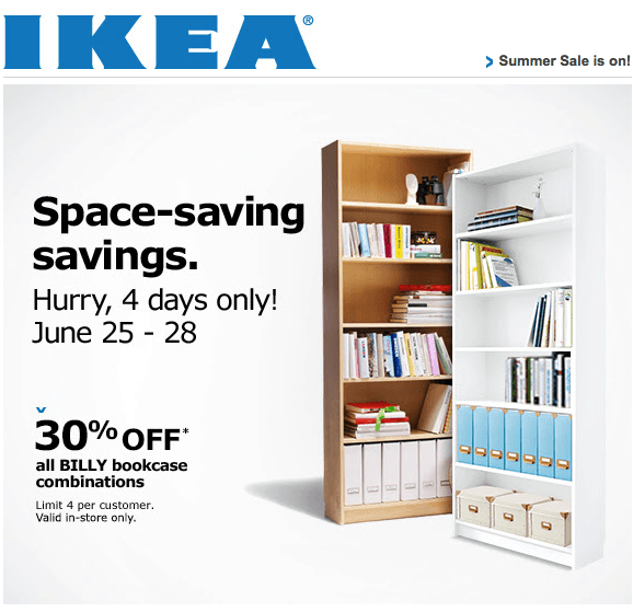 ikea canada weekend offers save 30 on all billy bookcase. Black Bedroom Furniture Sets. Home Design Ideas