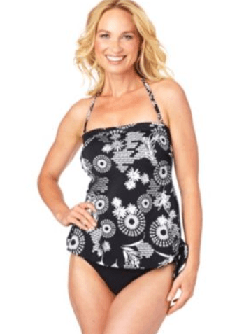 dcb594483a82d Head over to Sears today and you could save on swimsuits like this Upstream  Women's 'Sparkle' 1-Piece Faux Bandeau Blouson Swimsuit.