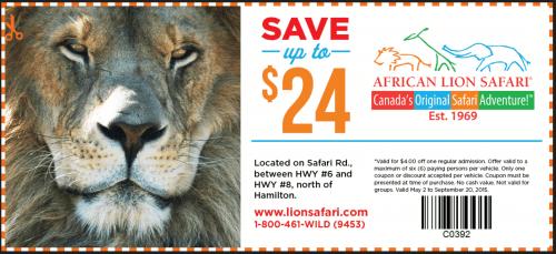 African lion safari coupons