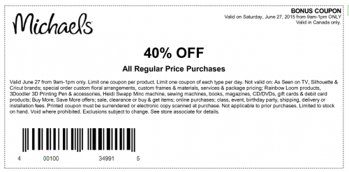 Michaels Craft Store Discount Coupons