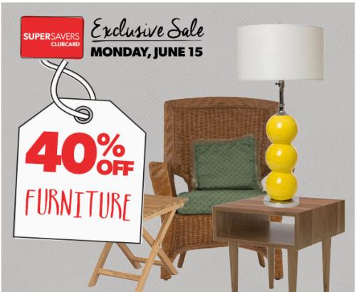 Value village canada save 40 on furniture on monday 15 for Furniture village sale